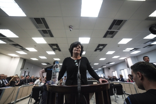 Magda Fyssas, mother of the murdered Pavlos Fyssas, testifies at the trial of the Golden Dawn at Korydallos jail complex, on Oct. 2, 2015 / Κατάθεση της Μάγδας Φύσσα, μητέρας του δολοφονηθέντα Παύλου Φύσσα, στη δική της Χρυσής Αυγής στις φυλακές Κορυδαλλού, στις 2 Οκτωβρίου, 2015